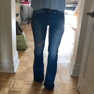 Rag & Bone wide leg jeans with rips in knee